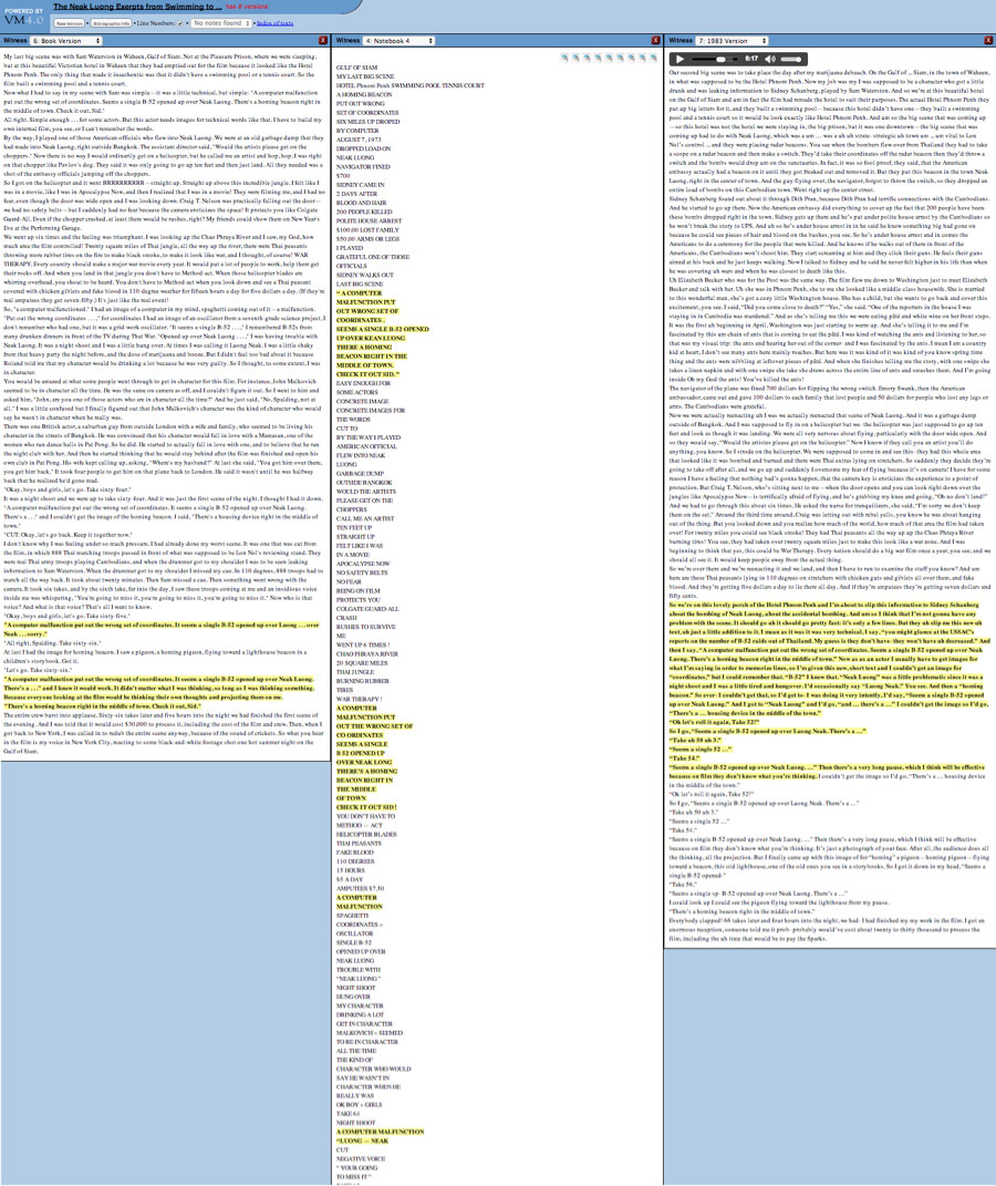 Three versions of an excerpt from Spalding Gray's Swimming to Cambodia. Highlighted sections indicate repeated material. While the left and center columns represent text versions (a book and set of performance notes), the right column represents the audio from a performance. Due to technical limitations, the sections that are repeated in the text versions are linked with only one section in the audio version.