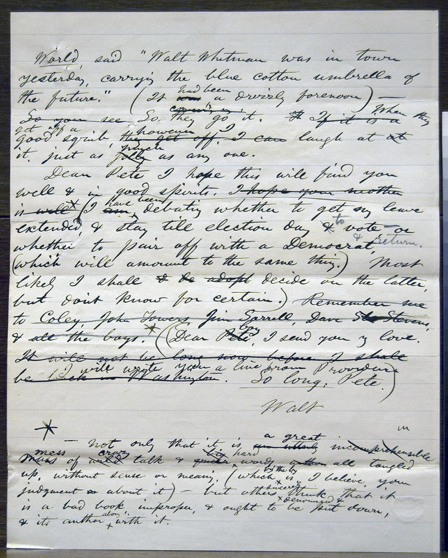 Figure 3: The second leaf of a draft letter from Whitman to Peter                             Doyle, October 14, [1868]. Charles E. Feinberg Collection, Library of                             Congress, Washington, DC.