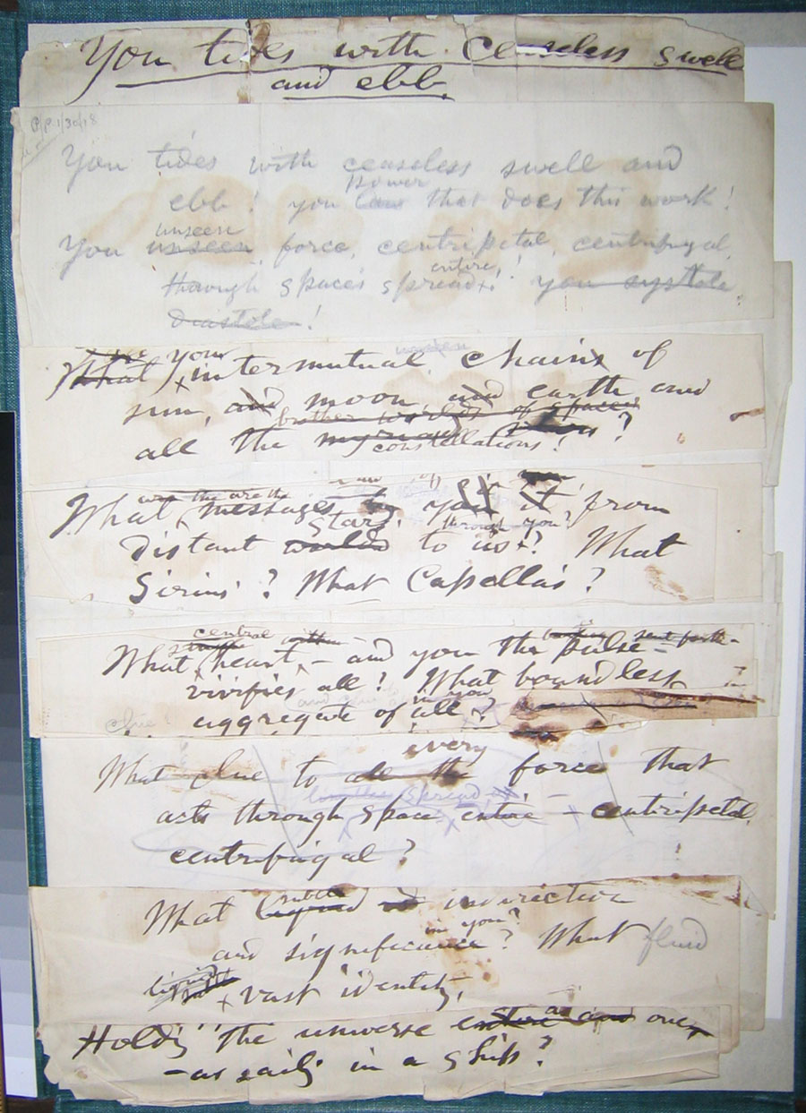 """Figure 8: Recto image, manuscript draft of """"You Tides With                             Ceaseless Swell."""" Courtesy of Walt Whitman House, Camden, NJ. Reproduced                             with permission."""