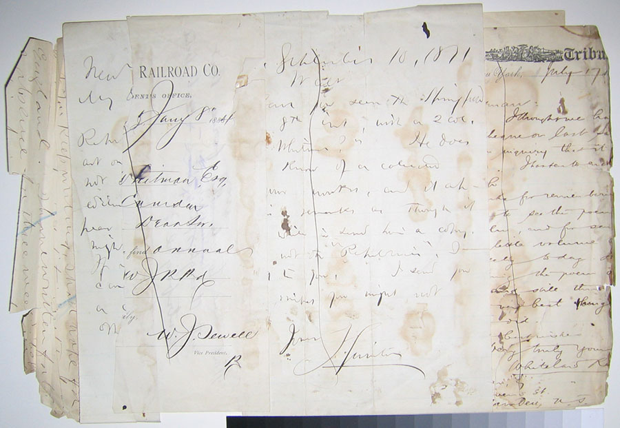 """Figure 9: Verso image, manuscript draft of """"You Tides With                             Ceaseless Swell,"""" constructed out of a series of letters sent to                             Whitman. Courtesy of Walt Whitman House, Camden, NJ."""