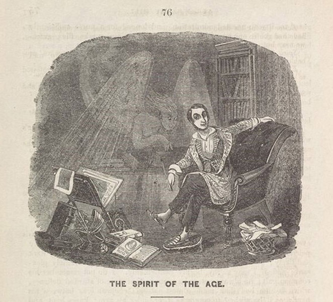 "Thomas Onwhyn, ""The Spirit of the Age,"" Queen's                             Magazine 1, no. 2 (May 1842): 76. Photograph by Cambridge                         University Library, 2016. Onwhyn's initials appear on the cover of one of                         the books on the floor."