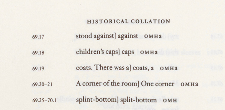 """Figure 1: An excerpt from the """"Historical Collation"""" of the Willa Cather Scholarly Edition of Obscure Destinies. The excerpt documents rejected variants for the paragraph of """"Old Mrs. Harris"""" that appears in Figure 4."""