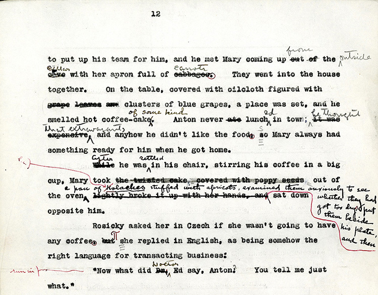"""Figure 3: A significant change to """"Neighbour Rosicky"""" made by Edith Lewis in black pen. Also visible are smaller changes in black pen by Willa Cather and corrections and formatting instructions in red pen by the Knopf copyeditor. Philip L. and Helen Cather Southwick Collection, Archives and Special Collections, University of Nebraska–Lincoln."""