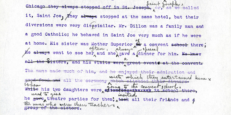 """Figure 6: Edith Lewis editing in pencil a passage from the early ribbon copy typescript of """"Two Friends."""" Note the erasures, indicating more than one round of editing. Willa Cather, Collected Materials, Archives and Special Collections, University of Nebraska–Lincoln."""
