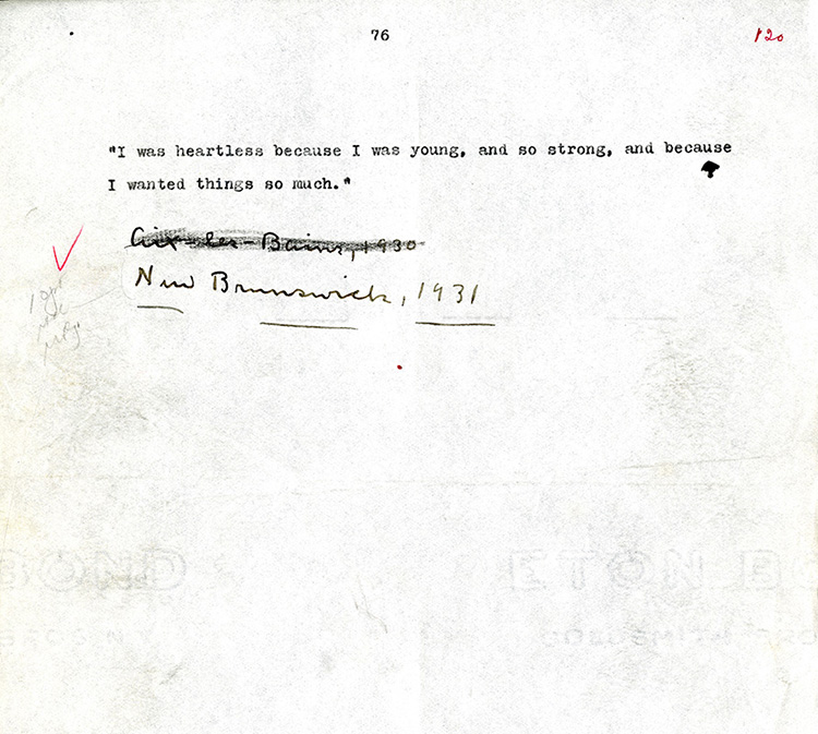 """Figure 9: The last page of the setting copy typescript of """"Old Mrs. Harris."""" Note the absence of the final sentence, Cather's changes to the date and place lines, and the red pen of the Knopf copyeditor and penciled typesetting instructions. Philip L. and Helen Cather Southwick Collection, Archives and Special Collections, University of Nebraska–Lincoln."""